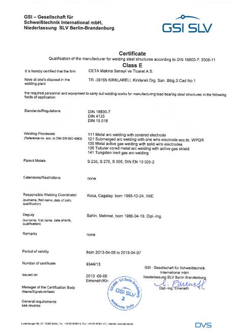 Certificates - CETA