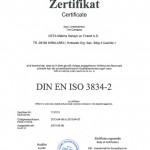 KAYNAK KALİTESİNE DIN EN ISO 3834-2 SERTİFİKASI